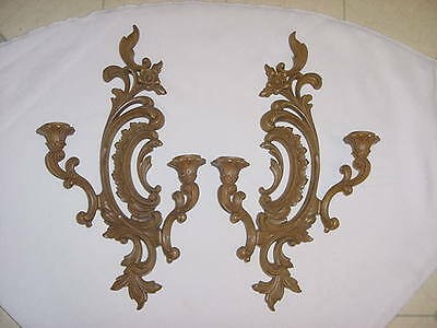 2 BROWN SYROCO DUAL CANDLE HOLDERS  Dated 1967 & VOTIVES USA Homco Home Interior