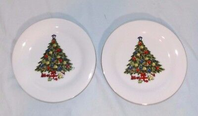 Lot 2 VTG Sea Gull Fine China Christmas Tree Salad Dessert Plates Gold Trim 7.5""