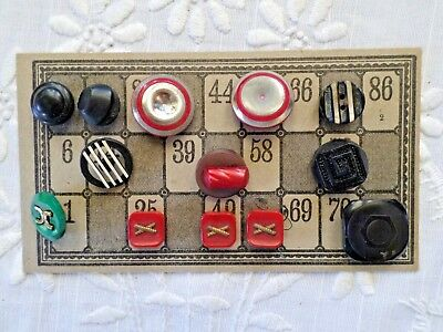 Vintage Mixed Art Deco Buttons Lot of 14 Red Green Black White Bakelite Plastic