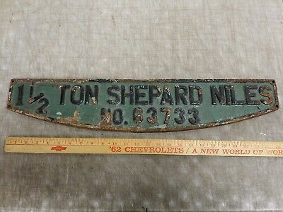 "Vintage Cast Iron Shepard-Niles Bridge Crane Hoist Sign Plate Badge, 26"" x 5-1/4"