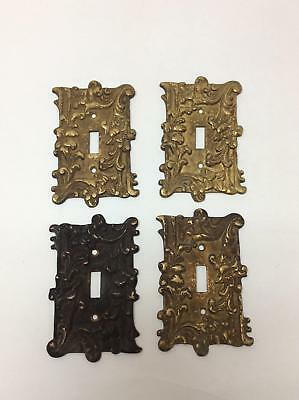 Lot of 4 Antique Cast Metal Brass Light Switch Cover Plates Matching Ornate