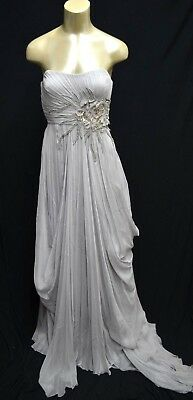 4057dbe4fbb8 BCBG Max Azria ATELIER embellished SILK Gown Grey Strapless Silk maxi long
