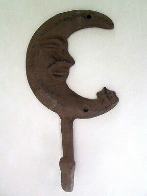 brown Cast Iron Crescent moon Hook Wall Hanging wicca gothic goth Decor