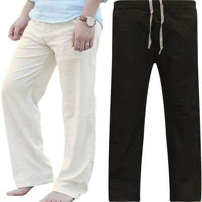 Mens Cotton Loose Pants Beach Drawstring Yoga Elasticated Linen Style Trousers
