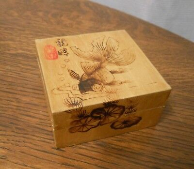 Vintage Hand Painted Chinese Wooden Ring Trinket Box Koi