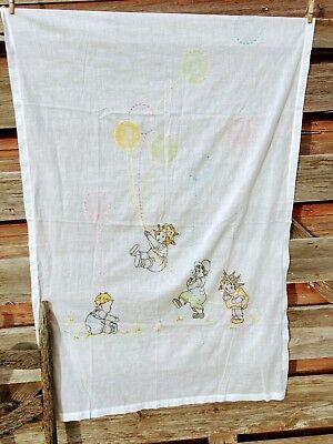 Vintage 1930's Nursery Crib cover Blanket Embroidery Kids Balloons Hand Colored
