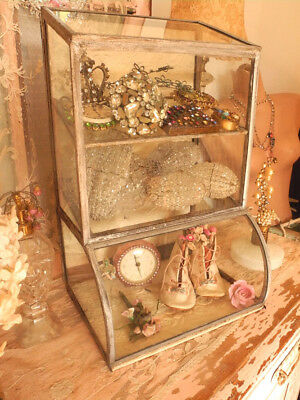 WOW! Old Rare Antique General Store Counter Top Curved Glass Small Display Case