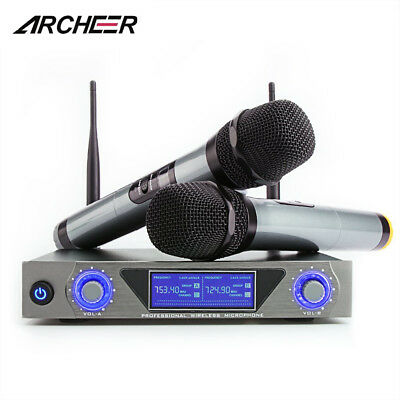 ARCHEER UHF Wireless Handheld Microphone Audio 2 Channel System For Home  NEW