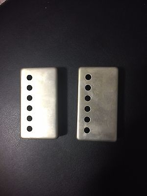 Aged Humbucker COVERS  Gibson style pickups NICKEL (pair) Raw Nickel 49.2 /50 MM