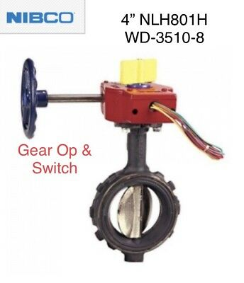 "4"" Pipe NIBCO NLH801H WD3510-8 Fire Sprinkler WAFER BUTTERFLY VALVE GO & Switch"