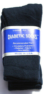 Mens Diabetic Crew Socks Size: 9-11 Navy Blue Pick Your Lot Qty MADE IN USA