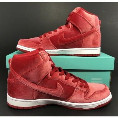 reputable site 53569 41e27 Nike SB Dunk High Premium  Red Velvet  Gym Red 313171-661 Men s Size