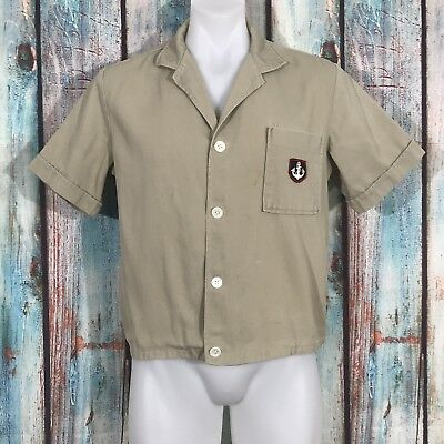 Vintage 50s Men's Tan Denim Shirt Sailor Patch Size M Rockabilly