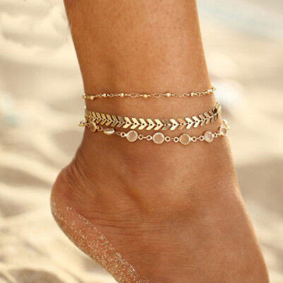 NEW Women Three-layer Anklet Bracelet Foot Chain with Fishbone Shape Jewelry