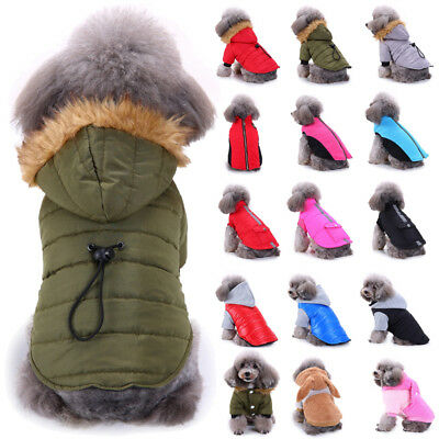 Pet Small Dog Puppy Waterproof Coat Jacket Hoodie Outwear Clothes Thick Apparel