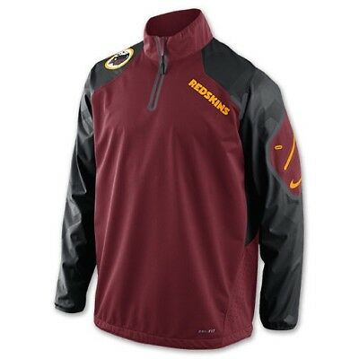 68adf9582 NIKE Washington Redskins Fly Rush 1/2 Zip P/O Training Top Jacket New