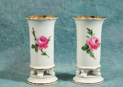 Set of 2 MEISSEN Germany Pink Rose 3 footed Vases on feet gold