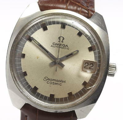 Omega Seamaster Cosmic Leather Belt Men's Automatic #CO060