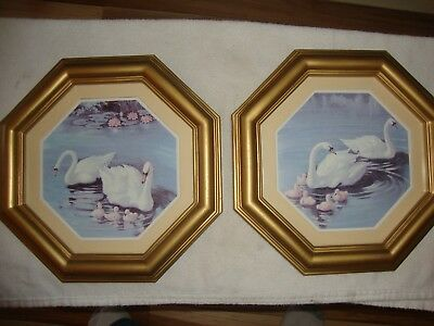 2 Home Interiors Homco Matted Octagon Swan Pictures
