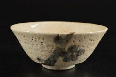 G3649: Japan Old Shino-ware White glaze Flower pattern TEA BOWL Green tea tool