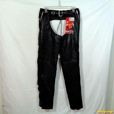NEW FIRST LEATHER Vtg Motorcycle Biker Chaps Pants Mens Size XS Black NWT