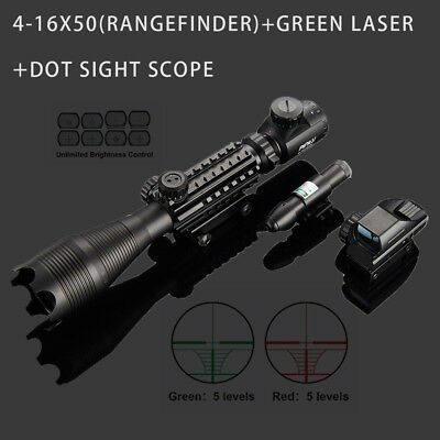 4-16x50EG Illuminated Rangefinder Rifle Scope W/Green Laser Dot Sight Scope