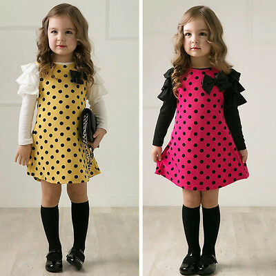 Kid Toddler Baby Girls Party Dress Ruffled Casual Sundress Clothes Age 2-8 Years