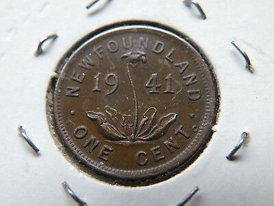 Newfoundland One Cent 1941c Canada 827,662 Minted Vintage Copper Coin EF Lot