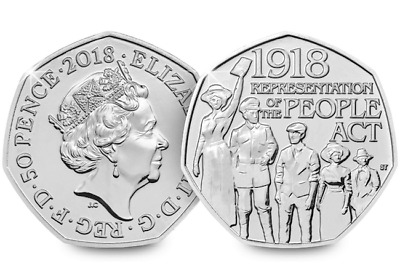 50p Fifty Pence coin 2018 - Representation Of The People Act 1918- free post