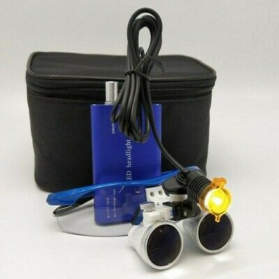 Dental Surgical LED Headlight with Filter + 3.5X Binocular Loupes Magnifier Blue