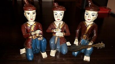 """Vintage Asian Thai Hand Carved Wood Statue of Musicians 10.5"""" tall."""
