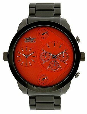 6f24d20ab88b Softech Men s Black Strap Orange Face Two Time Zone Watch Analog Quartz