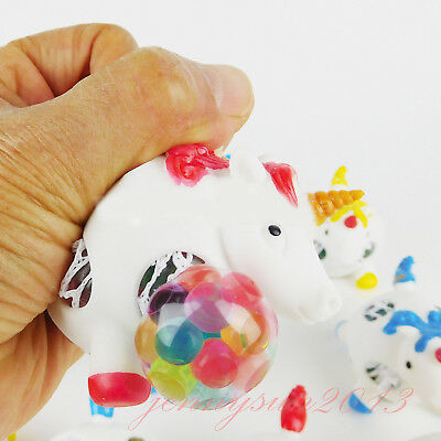 Squishy Gel Bead Filled UNICORN Squeeze Stress Ball Kids Autism Fidget Therapy