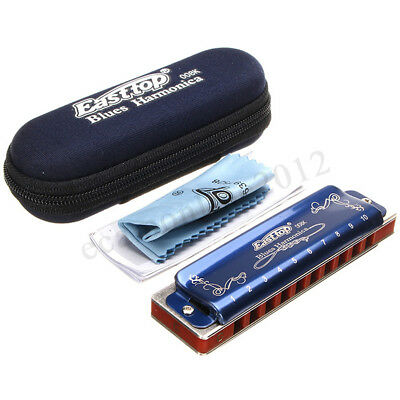 Easttop T008K 10 Hole Portable Professional Blues Harmonica Key For  new HOT