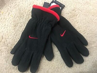 Nike Fleece Gloves Youth Boys Size 8/20 Black Red Logo ~ NWT ~ Free Shipping