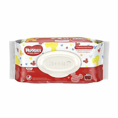 HUGGIES Simply Clean Fragrance Free Baby Wipes Soft Pack 64 Count