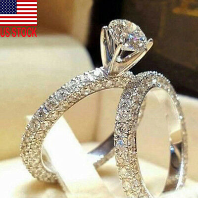 3.2 Ct Princess Cut AAA CZ Stainless Steel Wedding Ring Set Women's Size 5-11
