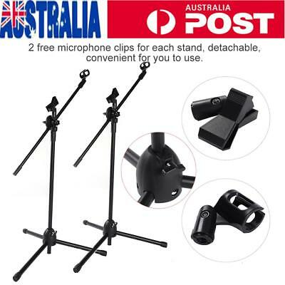 Height Adjustable Telescopic Boom Microphone Stand Mic Clip Folding Arm Tripod