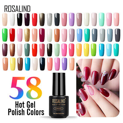 ROSALIND Classic Gel Nail Polish Soak off UV/LED Nail Art Pure Color Varnish 7ml