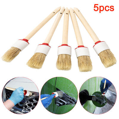 5pcs Soft Detailing Brushes For Car Cleaning Vents Dash Seats Wheels Practical