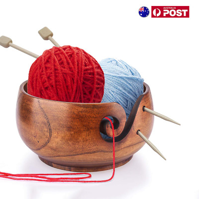 Yarn Bowl Wooden Holder Storage Lid Cover For Skeins Knitting Crochet Organizer