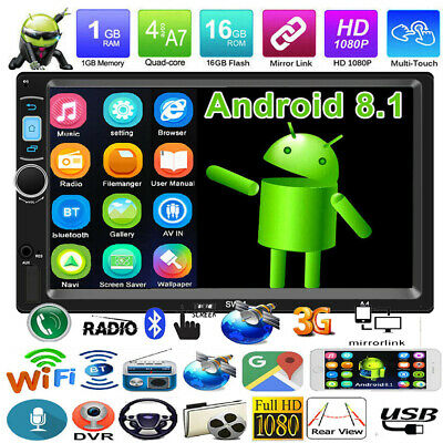 7'' Android 8.1 Car Stereo Radio WiFi GPS 2DIN Quad Core BT MP5 Player Head Unit