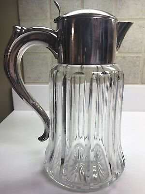 Vintage German Silverplated Crystal Pitcher
