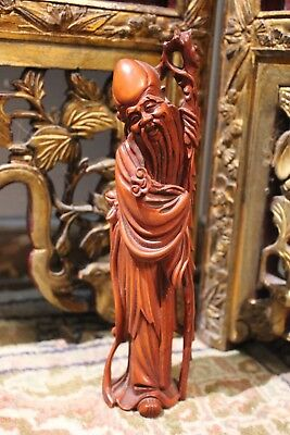 Antique Chinese Carved Boxwood Sage Figure Figurine
