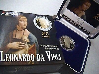 ITALIA 2 EURO commemorativo LEONARDO DA VINCI 2019 PROOF in cofanetto