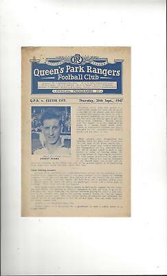 QPR v Exeter City Football Programme 1947/48