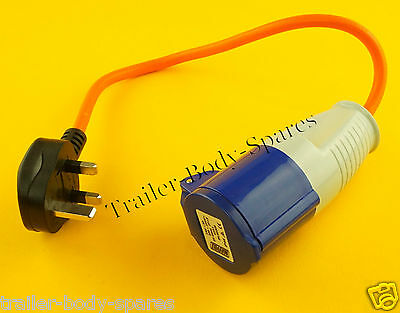 FREE UK Post - IP44 Rated UK Mains Hook Up 13A Plug Adaptor Lead 230v