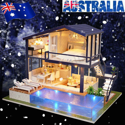 AU! DIY LED Loft Apartments Dollhouse Miniature Wooden Furniture Kit Doll House