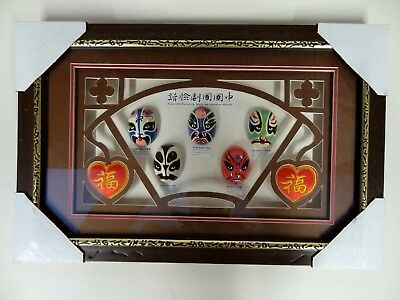 """Framed & Glazed Display of Chinese Opera Made-up Faces ca 16½"""" x 11"""""""