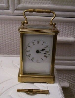 Working Antique Brass Carriage Clock With Key